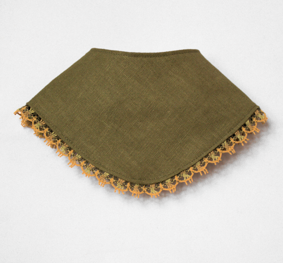Olive dribble bib with lace edging