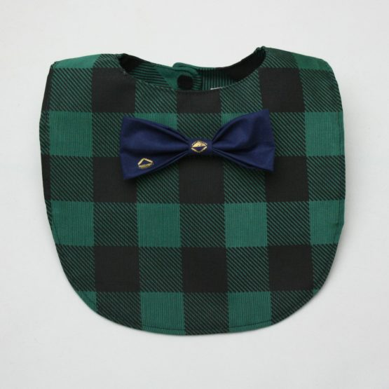Dark green checkered bib with navy blue bow tie