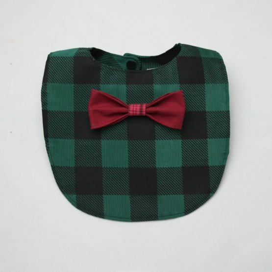 Dark green checkered bib with maroon bow tie