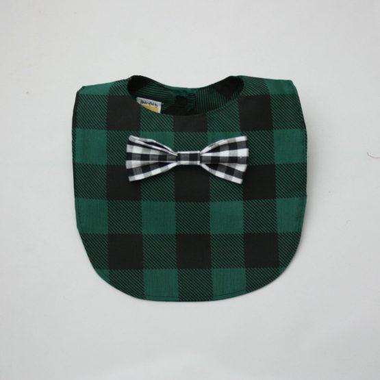 Dark green checkered bib with black and white bow tie