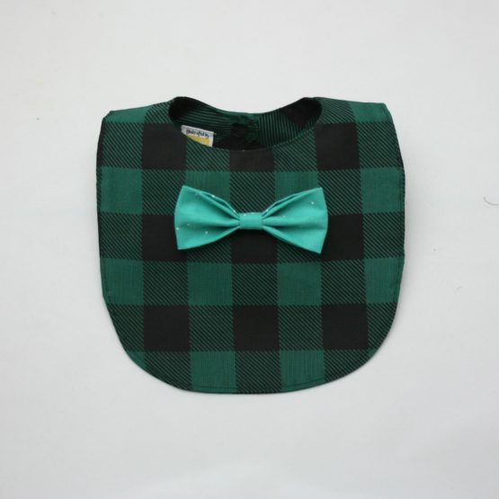 Dark green checkered bib with aqua bow tie