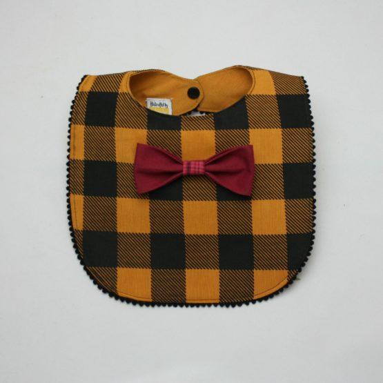 Mustard checkered bib with maroon bow tie