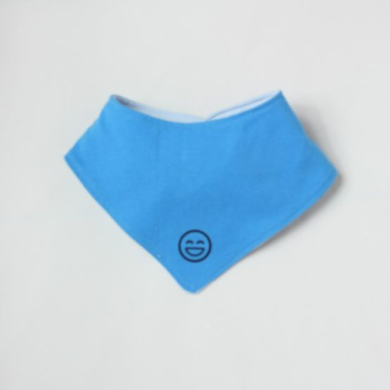 Blue dribble bib with smiley face