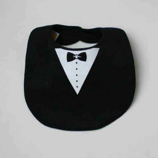 Black tuxedo and tie double sided bib