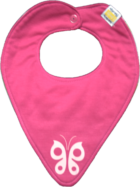 Pink mod bib with butterfly