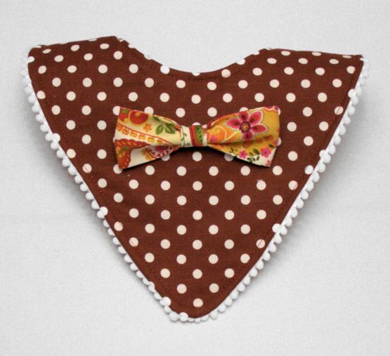 Maroon mod bib with mustard print bow tie
