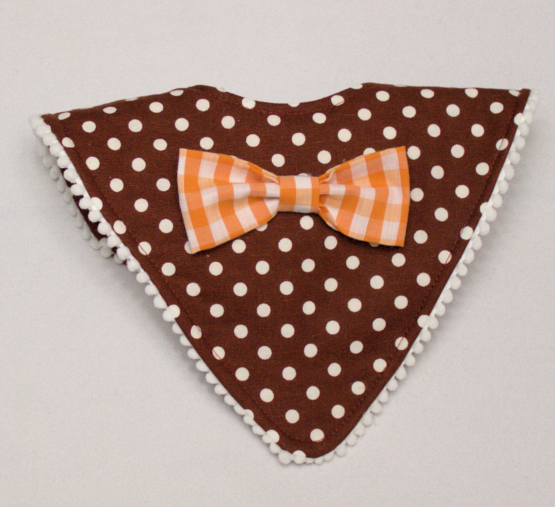 Maroon mod bib with orange checkered bow tie