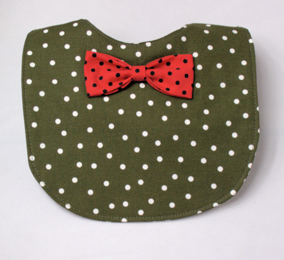 Olive polka dot bib with red bow tie